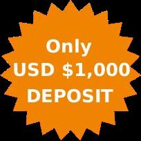 Only US$1,000 Deposit